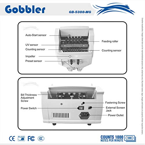 GOBBLER GB5388 Note Counting Machine with Fake Note Detection