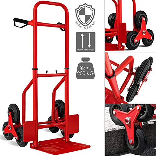 Masko® Treppenkarre Sackkarre 200kg Transportkarre Treppensteiger Stapelkarre (Rot)