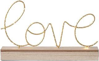 Lámpara de mesa LED inglés con letra Love Metal creativa, lámpara de mesa baja de madera, luz romántica, boda, decoración de accesorios de fiesta de Navidad