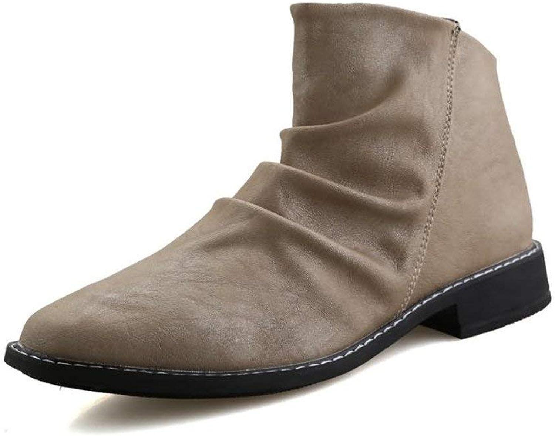 Fuxitoggo Herren Stiefeletten Round Toe Block Heel Pull auf Slouch Vamp Oxfords Schuhe (Farbe   Schwarz, Größe   41 EU) (Farbe   Cream-Colourot, Größe   42 EU)  | Hohe Qualität und Wirtschaftlichkeit
