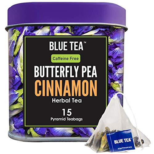 BLUE TEA - Butterfly Pea Flower Cinnamon - 30 Cups - 15 Pyramid Tea Bags | Premium Tin Pack | Makes Natural Blue Purple Pink Iced Tea, Cooler| Herbal Tea - Tisane - High on Anti Oxidants