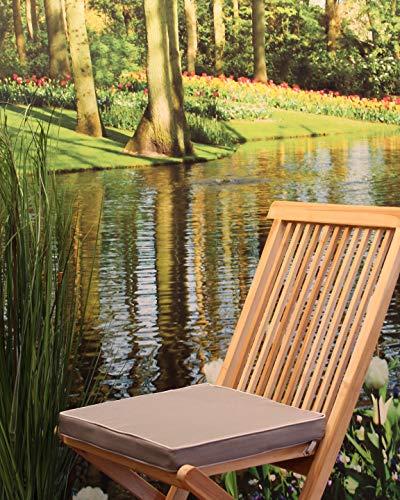 Kamaca Outdoor Sitzkissen Stuhlauflage Polster Auflage Lotus Effekt Wasser- und schmutzabweisend ideal für Haus Garten Camping (Stuhlkissen 40x40x4 cm DUNKELGRAU)
