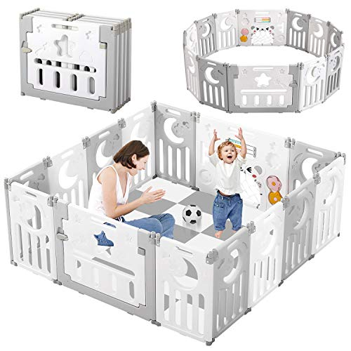 Baby Playpen, Dripex Upgrade Foldable Kids Activity Centre Safety Play Yard Home Indoor Outdoor Baby Fence Play Pen NO Gaps with Gate for Baby Boys Girls Toddlers (14-Panel, Grey+White)
