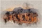 500 piezas-Benidorm City at Sunset Stock Illustration Rompecabezas de madera DIY Rompecabezas educativos para niños Regalo de descompresión para adultos Juegos creativos Juguetes Rompecabezas