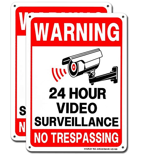 """(2-Pack) HISRAY Video Surveillance Sign, No Trespassing Warning Sign, 10"""" x 7"""" 040 Aluminum Indoor Or Outdoor Use for Home Business CCTV Security Camera Signs UV Protected & Waterproof"""
