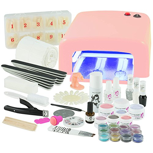 UV Gel Nagelstudio Starter Set - optimaler Einstieg in das eigene Nageldesign mit dem Nagelset dank viel Nailart, UV Lampe und Farbgel Set Ice Cold (pink)