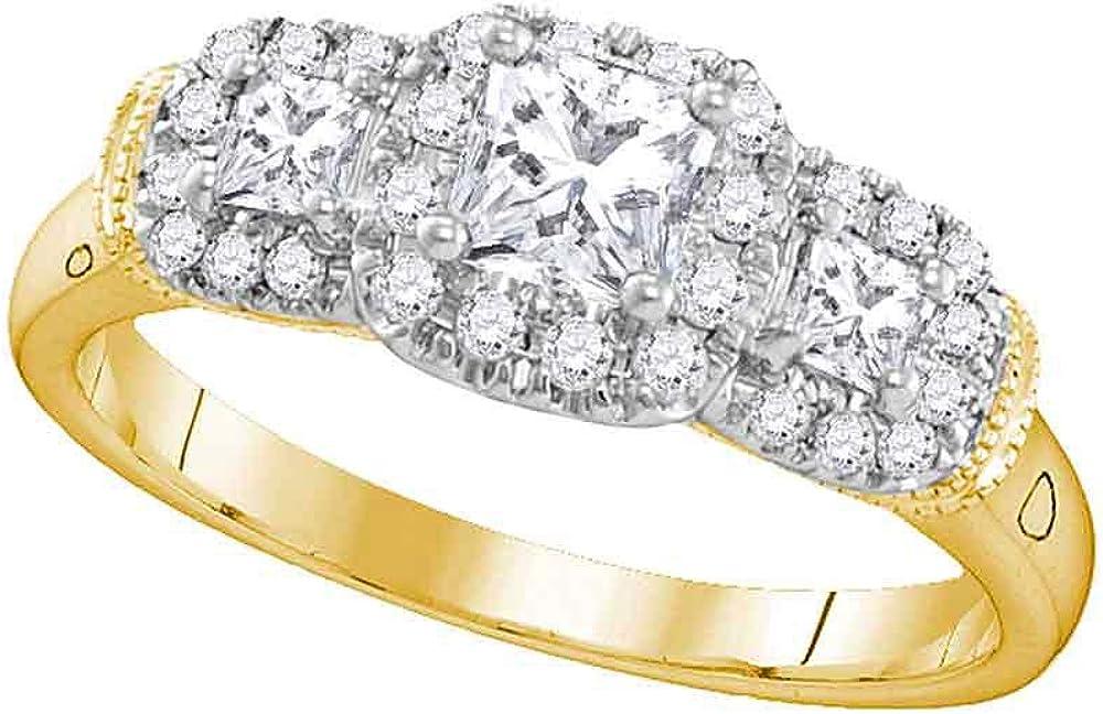 14kt Yellow Gold Max 57% OFF Princess Diamond 3-stone Max 55% OFF Wedding Bridal Engagem
