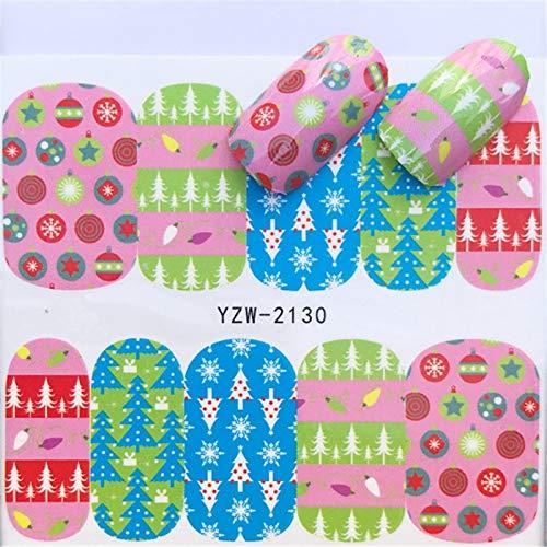 MEIYY Nagel Sticker 1 vel Kerstmis Sneeuwman Boom Laarzen Klokken Herten Water Transfer Nagel Art Sticker Decal Slider Manicure Wraps Tool Xmas Gift 2130