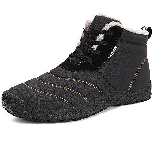 Minetom Invernali Unisex Uomo Sportive Stivali da Neve Impermeabile Scarpe Stivaletti Stringati con Imbottitura Calda Sneaker Nero EU 43