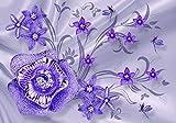 wandmotiv24 Fototapete Blume lila Diamanten Libelle Seidentuch S 200 x 140cm - 4 Teile Fototapeten, Wandbild, Motivtapeten, Vlies-Tapeten Seide Stofftuch Blumen M4761