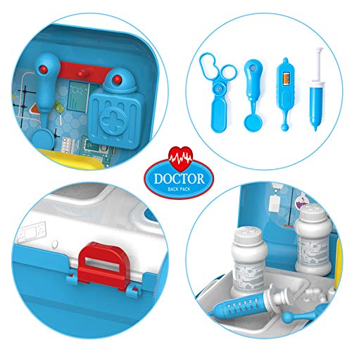 Sanlebi Back Pack Kit Carry Case Role Play Set Gift Educational Toy 17Pcs Age 3 Years and Up (Doctor Set)