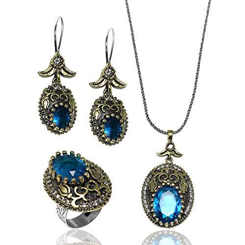 Juego de joyas auténticas para mujer hechas a mano, aguamarina, collar de plata de ley, anillo y pendientes   Accesorio para mujer   Regalo de boda