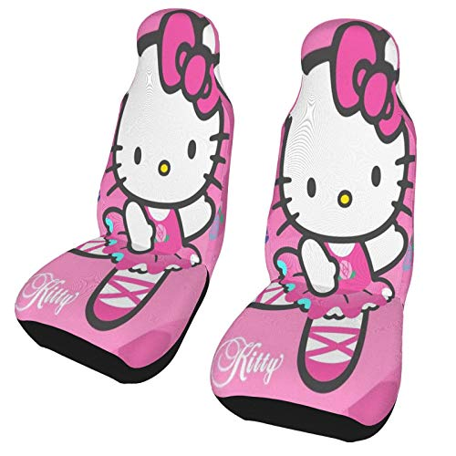 YUELIZHOU Hello Kitty Car Seat Cover, Universal Bucket Seat Cover Luxury Car Seat Protectors Easy Install with Pockets Fit with Pad Protectors for Car, Truck & SUV 2 Pcs One Size
