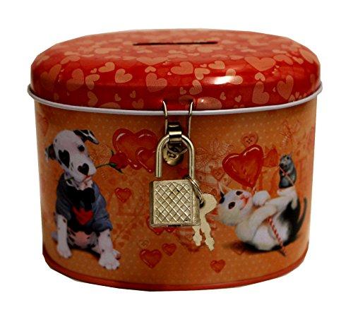 Love Cats & Dogs Hucha con cerradura y llave, color rojo