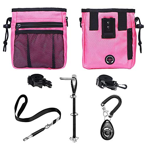 D-buy 4-in-1 Dog Training Set, Puppy Training Treats- Dog Treat Training Pouch, Dog Whistle, Dog Doorbells, Dog Clicker, Ideal Gift for First Time Pet Owners, Training Dog Owners (Pink)