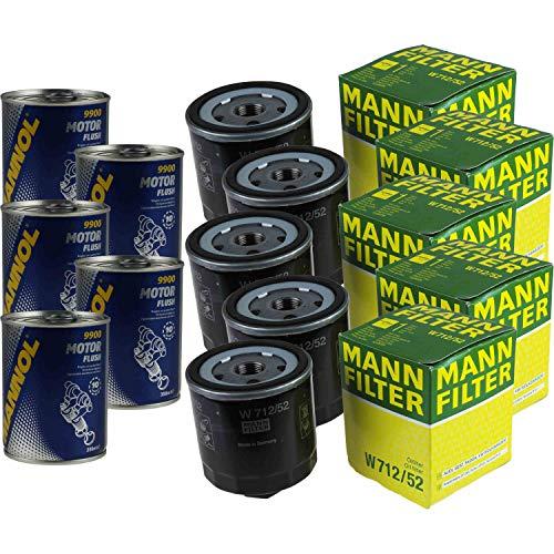 5x Original MANN Ölfilter W 712/52 + 5x SCT Motor Flush Motorspülung