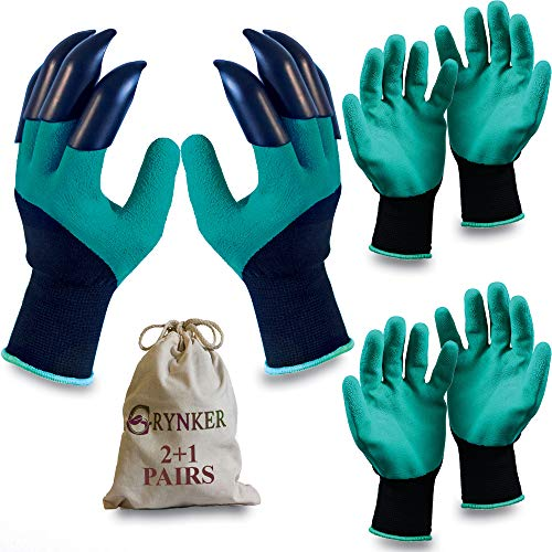 Garden Gloves with Claws - 2+1 Pairs for Digging, Planting, Weeding, Seeding - Waterproof, Protect...