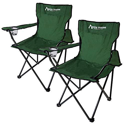 Prairie House キャンプチェア アウトドアチェア 折りたたみ椅子 グリーン 2個セット [PHS110G]