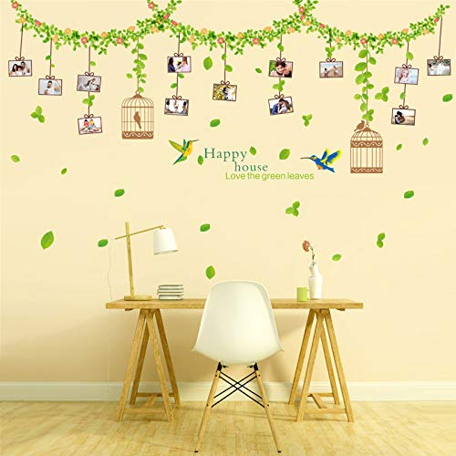 "SWORNA Nature Series Beautiful Branch Vine Flowers with Birds Cage Removable Vinyl DIY Wall Decal Stickers for Bedroom/Living/Sitting Room/Kindergarten Kids Nursery Hallway Classroom 43""H X 71""W"