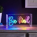 Lights4fun Señal Luminosa Neon Escrita Be Kind con LED Colorados para Adorno Interiores