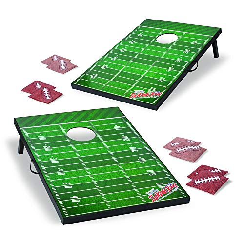 Wild Sports Tailgate Size Cornhole Set, Football Field Design, Two 2' x 3' Boards and 8 Bags