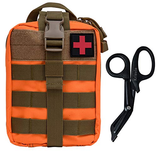 KrisVie Pochette EMT Médecine Tactique Sac étanche Molle de Premiers Secours, Trousse Kit de Premiers Soins Militaires pour Randonnée Camping Airsoft avec Un Ciseaux médical (Orange)