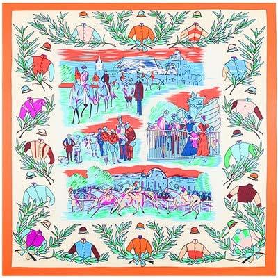 N/D 100% Soie sergé Marque Foulard en Soie pour Les Femmes, Nouvelle Mode Grand carré Foulards Bandeau Royal Ascot Olive Branche Impression châle 1