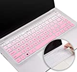 Silicone Keyboard Cover Protector for HP Pavilion x360 14 Inch 14m 14t 14dh/14-ba, 2021 2020 HP 14 Inch 14cd/14ce Laptop Keyboard Skin, HP Pavilion 14 Inch Series Keyboard Accessories(Pink+Clear)
