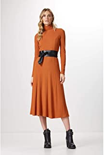 VESTIDO ML CANELADO BASIC-BOMBAY BROWN