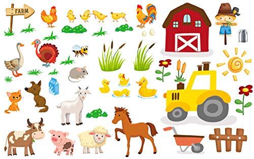 EmmiJules Wandtattoo Bauernhof für das Kinderzimmer - in verschiedenen Größen erhältlich - Tiere Baby Mädchen Junge Kinder Deko Pferd Traktor Farm Babyzimmer Wandaufkleber Wandsticker (40cm x 70cm)
