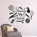 Logotipo de salón de belleza, calcomanía de pared, herramientas de barbero, pegatina de pared, maquillaje, vinilo, pegatina para ventana, estudio de belleza, decoración de pared A6 42x31cm