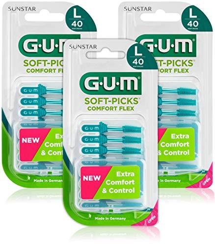 GUM SOFT-PICKS COMFORT FLEX Scovolini Interdentali in Gomma/Per Rimuovere Placca e Residui di Cibo/Morbido e Flessibile/Con Astuccio da Viaggio/Misura Large / 3 Confezioni da 40 pz