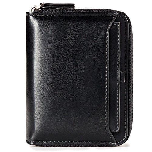 Ledergeldbörse Geldbeutel Geldbörse Portemonnaie Ledergeldbeutel Brieftasche Herren Mini-Geldbörse aus echtem Leder mit RFID Schutz für Damen Herren, Smarter Geldbeutel und Karten-Brieftasche Schwarz