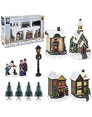Toyland® Mini Christmas Village & Shop Scene Set met LED-verlichting - Kerstversiering (12-delig dorp)