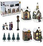 TOYLAND Set de escenas iluminadas Mini Village - Decoraciones navideñas (12 Trozo)