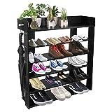 H&A 6 Tiers Natural Wood Shoe Rack Organizer Environment-friendly Shoe Storage Cabinet (Black)