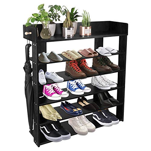 H&A 6 Tiers Natural Wood Shoe Rack Organizer...