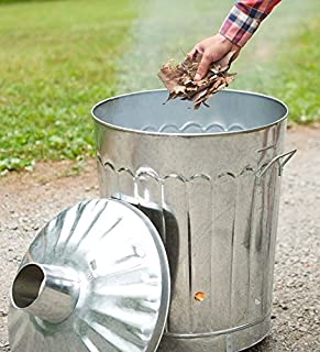 Plow & Hearth Galvanized Metal Garden Incinerator Can