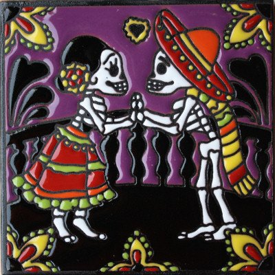 Fine Crafts Imports 6x6 The Lovers. Day-of-The-Dead Clay Tile