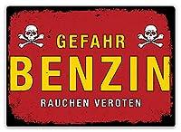 Benzin Gefahr 注意看板メタル安全標識注意マー表示パネル金属板のブリキ看板情報サイントイレ公共場所駐車ペット誕生日新年クリスマスパーティーギフト