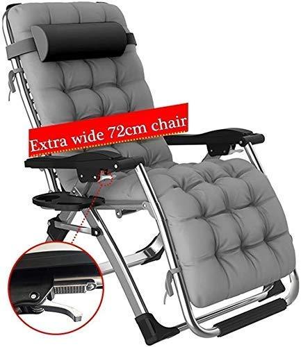 WFFF Silla de jardín plegable para jardín, reclinable, para exteriores, plegable, con cojines de gravedad cero y respaldo para silla reclinable de patio, 400 libras
