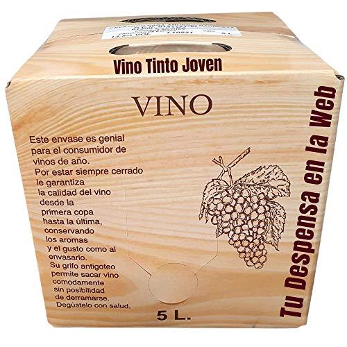 Vino Tinto joven - Bag in Box de 5 Litros - Elaborado con un 90% de tempranillos norteños mezclados con las viuras centenarias - Vino Tinto Bag in Box