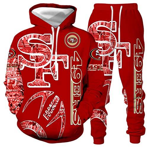 DREAMING-Camiseta de manga larga de primavera y otoño con estampado 3D Pullover Top casual con capucha + pantalones con cordón traje deportivo de 2 piezas para pareja L