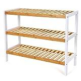 SONGMICS Scarpiera scaffali Scarpe Portascarpe Sgabello bambù 3 Ripiani capacità Fino a 9 Paia di Scarpe 70 x 26 x 55 cm LBS03H