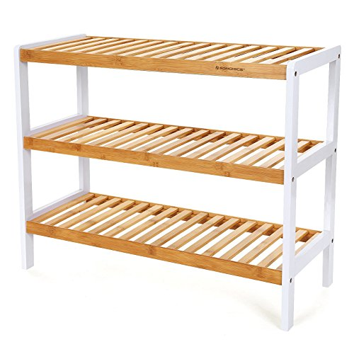 SONGMICS Schuhregal aus Bambus, Badregal mit 3 Ebenen, Schuhschrank, Schuhständer, 70 x 55 x 26 cm (B x H x T), weiß und naturfarben, LBS03H