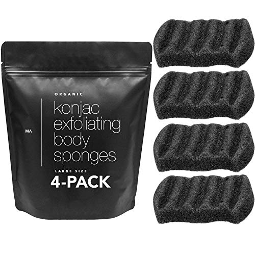 Minamul Konjac Exfoliating Organic Body Sponge | Gentle Daily Body face Scrub/Skincare | Infused with Best Bamboo Activated Charcoal | Safe for Oily, Dry, Combination or Sensitive Skin | 4 Pack Set