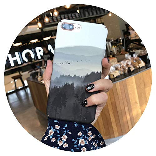 Caja pintada del teléfono para el iPhone 7 8 X 6 6s Plus mate caso de la PC del paisaje de la manera de la caja para el iPhone 8 Plus cubierta Fundas, tipo 7, para el iPhone 6 6S