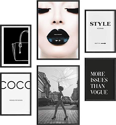 Mia Félice Moderne Wand-Bilder für das Wohnzimmer, Schlaf-Zimmer, Flur Tumblr Wand-Deko modern - Wand-Dekoration Wohnung » Style Icons « Marfa Poster-Set Wand-Bild - ohne Bilderrahmen