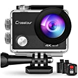 Action Cam 4K, Unterwasserkamera Crosstour CT9000 (20MP WiFi Wasserdicht 40M Helmkamera...