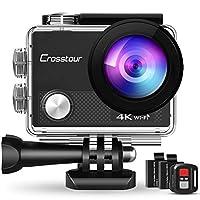 Crosstour Action Cam bietet professionelles 4K / 30fps-Video und 20MP-Bild. Mit der Fernbedienung und Wi-Fi können Sie die Kamera drahtlos steuern. Mit dem soliden wasserdichten Gehäuse erreichen Sie unter Wasser 40 Meter. Verschiedene Modi zur Auswa...